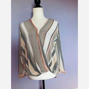 Cynthia Rowley striped wrap long sleeve blouse